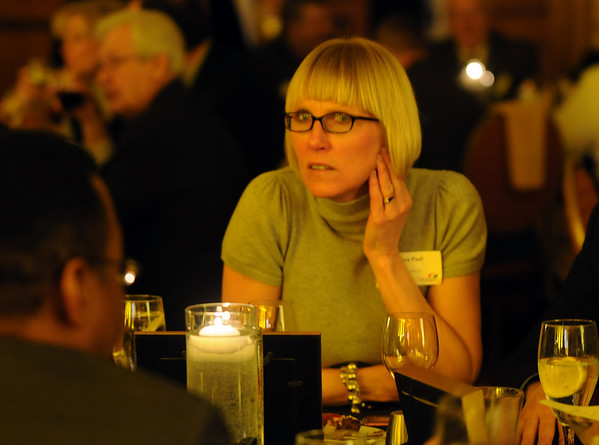 Dedra Paul listens to a member during the Broomfield Chamber of Commerce annual dinner at the Renaissance Boulder Suites Hotel on Friday.<br />  <br /> January 22, 2010<br /> Staff photo/David R. Jennings