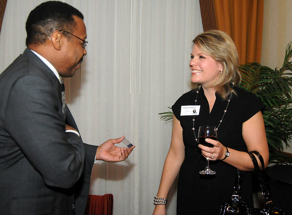 Thaxter Williams, left, chats with Marilyn Manning during the Broomfield Chamber of Commerce annual dinner at the Renaissance Boulder Suites Hotel on Friday.<br />  <br /> January 22, 2010<br /> Staff photo/David R. Jennings
