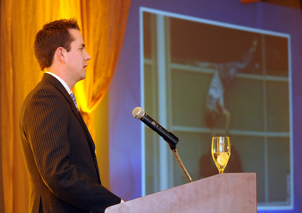 Patrick Ireland, managing director with Northwestern Mutual in Broomfield and survivor of the Columbine High School shootings, speaks during Friday's Broomfield Chamber of Commerce annual dinner at the Renaissance Boulder Suites Hotel.<br />  <br /> January 22, 2010<br /> Staff photo/David R. Jennings