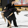 Hayden Schappell, left, and Julie Brandenburg dance during Broomfield High's Color Guard performance at the Rocky Mountain Color Guard Assoc. State competition at Legacy High School on Saturday.<br /> <br /> March 27, 2010<br /> Staff photo/David R. Jennings