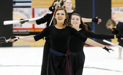 Julie Brandenburg leads the Broomfield High's Color Guard line during their performance at the Rocky Mountain Color Guard Assoc. State competition at Legacy High School on Saturday.  March 27, 2010 Staff photo/David R. Jennings