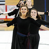 Julie Brandenburg leads the Broomfield High's Color Guard line during their performance at the Rocky Mountain Color Guard Assoc. State competition at Legacy High School on Saturday.<br /> <br /> March 27, 2010<br /> Staff photo/David R. Jennings