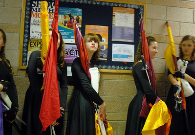 Broomfield High's Color Guard wait in a hallway just before performing at the Rocky Mountain Color Guard Assoc. State competition at Legacy High School on Saturday.  March 27, 2010 Staff photo/David R. Jennings