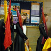 Broomfield High's Color Guard wait in a hallway just before performing at the Rocky Mountain Color Guard Assoc. State competition at Legacy High School on Saturday.<br /> <br /> March 27, 2010<br /> Staff photo/David R. Jennings