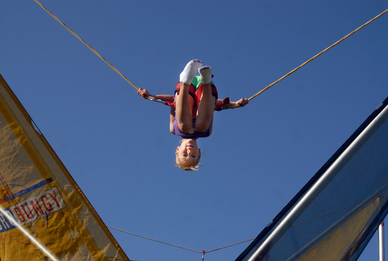 Kylie Frese, 7, on the bungee jump during Broomfield Days at Midway Park on Saturday.<br /> <br /> Sept. 19, 2009<br /> Staff photo/David R. Jennings