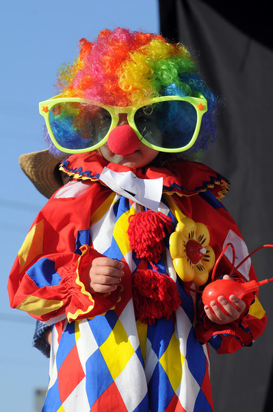 Payton Delier, 4, wore big glasses for the Optimit's Clown Contest  during Broomfield Days at Midway Park on Saturday.<br /> <br /> Sept. 19, 2009<br /> Staff photo/David R. Jennings
