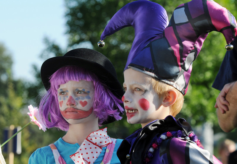 Julia Kirk, 6, left,  stands next to her brother Kevin as they wait for their turn at the Optimist's Clown Contest during Broomfield Days at Midway Park on Saturday.<br /> <br /> Sept. 19, 2009<br /> Staff photo/David R. Jennings