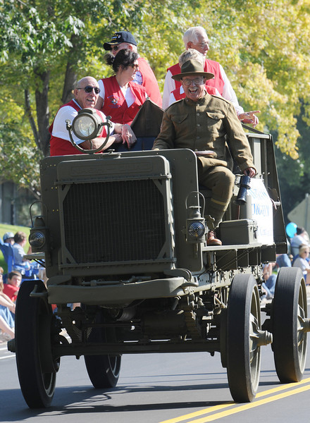 Members of the Broomfield Veterans Museum ride in an antique military vehicle during the parade at Broomfield Days at Midway Park on Saturday.<br /> <br /> Sept. 19, 2009<br /> Staff photo/David R. Jennings