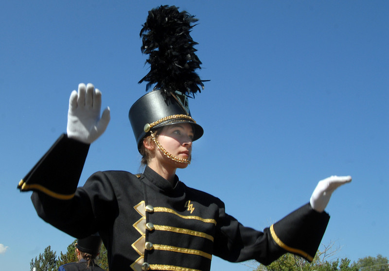 Drum major Mallorie Stringfellow leads the Legacy High band in the parade during Broomfield Days at Midway Park on Saturday.<br /> <br /> Sept. 19, 2009<br /> Staff photo/David R. Jennings