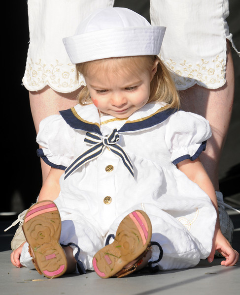 Mia Schuman, 21 months-old, dressed as a sailor for the Optimist's Clown contest during Broomfield Days at Midway Park on Saturday.<br /> <br /> Sept. 19, 2009<br /> Staff photo/David R. Jennings