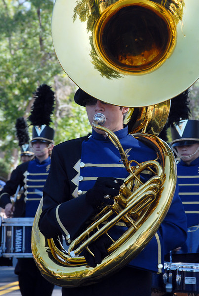 A Legacy High tuba player marching in the parade at during Broomfield Days at Midway Park on Saturday.<br /> <br /> Sept. 19, 2009<br /> Staff photo/David R. Jennings