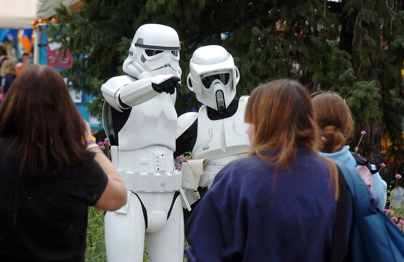 Two people dressed as Storm Troopers pose for pictures at Broomfield Days on Saturday.<br /> <br /> September 18, 2010<br /> staff photo/David R. Jennings