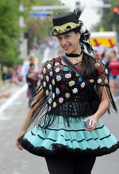 Jen Archer, dressed in Steampunk, founder of Ascential Dance Theatre marches during the parade in the  at Broomfield Days on Saturday.<br /> <br /> September 18, 2010<br /> staff photo/David R. Jennings