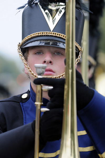 Legacy High band member Stephen Dissler marches carrying his trombone during the parade at Broomfield Days on Saturday.<br /> <br /> September 18, 2010<br /> staff photo/David R. Jennings