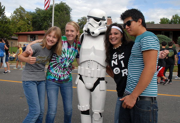 Katalena Laufasa-Duncan, second right, with her friends, pose with Storm Trooper Brent McClay during the Optimist Parade at Broomfield Days on Saturday.<br /> September 17, 2011<br /> staff photo/ David R. Jennings