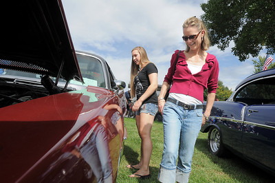 Tracie Mathisen, right, and her daughter Dale, 16, look at cars in the Rock'n Cool Classic Car Show during Broomfield Days at Midway Park on Saturday. September 17, 2011 staff photo/ David R. Jennings