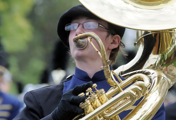 Legacy High Marching Band member Aaron Davis plays the tuba while marching in the Optimist Parade during Broomfield Days on Saturday.<br /> September 17, 2011<br /> staff photo/ David R. Jennings