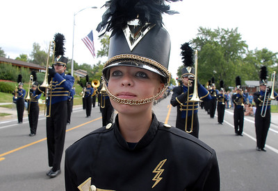 Drum major Paige Becker leads the Legacy Marching Band down Midway Boulevard during the Optimist Parade at Broomfield Days on Saturday. September 17, 2011 staff photo/ David R. Jennings