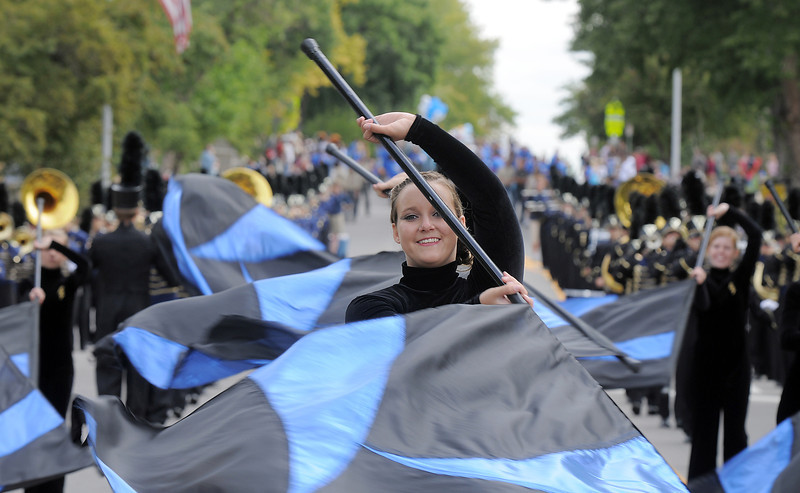 Legacy High Marching Band member Michele Eson during the Optimist Parade at Broomfield Days on Saturday.<br /> September 17, 2011<br /> staff photo/ David R. Jennings