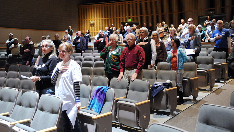 Caucus attendees say the Pledge of Allegiance at the Broomfield County Democratic caucus at Broomfield High School on Tuesday. <br /> March 6, 2012 <br /> staff photo/ David R. Jennings
