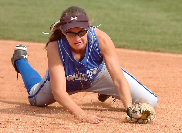 Broomfield's Lyndsey Babcock catches an Erie ground ball during the regional tournament at The Ballpark at Erie on Saturday.<br /> <br /> October 15, 2011<br /> staff photo/ David R. Jennings