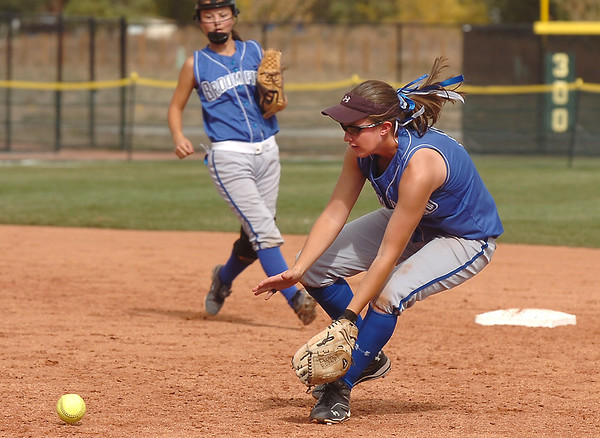 Broomfield's Lyndsey Babcock prepares to scoop up an Erie ground ball during the regional tournament at The Ballpark at Erie on Saturday.<br /> <br /> October 15, 2011<br /> staff photo/ David R. Jennings