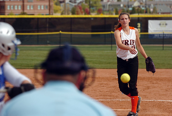 Erie's pitcher Katie Kovets throws against Broomfield during the regional tournament at The Ballpark at Erie on Saturday.<br /> <br /> October 15, 2011<br /> staff photo/ David R. Jennings
