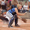 Broomfield's catcher Lindsey Shiels waits for the ball as Erie's Julia Clark slides to home plate during the regional tournament at The Ballpark at Erie on Saturday.<br /> October 15, 2011<br /> staff photo/ David R. Jennings