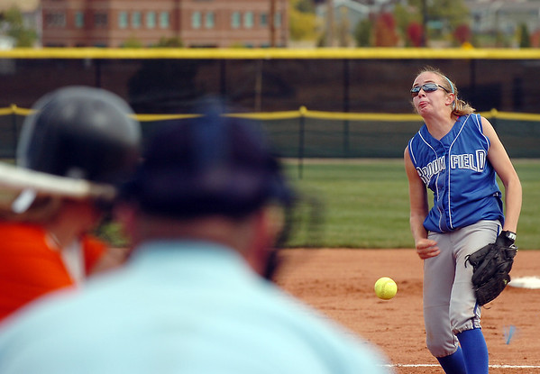 Broomfield's pitcher Shelby Grandt  throws against Erie during the regional tournament at The Ballpark at Erie on Saturday.<br /> October 15, 2011<br /> staff photo/ David R. Jennings