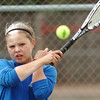Broomfield's No. 2 doubles player Jenna Jarvis returns the ball to Longmont during play on Thursday at Longmont High School.<br /> <br /> April 21, 2011<br /> staff photo/David R. Jennings
