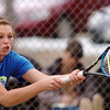 Broomfield's No. 2 doubles player Bailey Schnoor returns the ball against Longmont during play on Thursday at Longmont High School.<br /> <br /> April 21, 2011<br /> staff photo/David R. Jennings