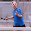 Broomfield's No. 2 doubles player Jenna Jarvis returns the ball against Longmont during play on Thursday at Longmont High School.<br /> <br /> April 21, 2011<br /> staff photo/David R. Jennings