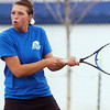 Broomfield's No. 3 doubles player Bailey Schnoor returns the ball against Longmont during play on Thursday at Longmont High School.<br /> <br /> April 21, 2011<br /> staff photo/David R. Jennings