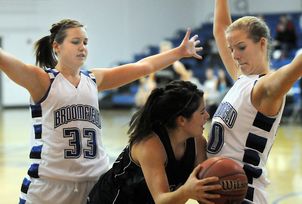 Broomfield's Millie Reeves, left, and Meagan Prins boxes in Ashley Ambriz, Fossil Ridge during Friday's game at Broomfield.<br /> <br /> <br /> December 18, 2009<br /> Staff photo/David R. Jennings