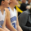 Broomfield's Millie Reeves, right, and Kody Bradfield cheer from the bench during the game against Pueblo East on Saturday in the Great 8 4A game at the Colorado School of Mines Lockridge Arena.<br /> <br /> March 6, 2010<br /> Staff photo/David R. Jennings