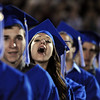 Rose Chipman gives a cheer during Saturday's  Broomfield High graduation at Elizabeth Kennedy Stadium.<br /> May 22, 2010<br /> Staff photo/ David R. Jennings