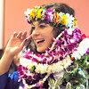 Katalena Laufasa-Duncan wearing Hawaiian Leis from her family in celebrates after Saturday's Broomfield High School Commencement at the 1stBank Center. Laufasa-Duncan is going to the University of Hawaii.<br /> <br /> May 19, 2012 <br /> staff photo/ David R. Jennings