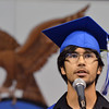 Leon Mireles delivers the class member speech with the white rose in memory of Dylan Thomas  during Saturday's Broomfield High School Commencement at the 1stBank Center.<br /> <br /> May 19, 2012 <br /> staff photo/ David R. Jennings