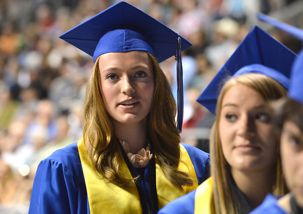 Kathryn Middel-Katzenmeyer waits in line to recieve her diploma during Saturday's Broomfield High School Commencement at the 1stBank Center.<br /> <br /> May 19, 2012 <br /> staff photo/ David R. Jennings