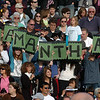 A family holds up signs spelling a graduate's first name, Samantha, during Saturday's Broomfield High School graduation ceremony at Elizabeth Kennedy Stadium.<br /> May 21, 2011<br /> staff photo/David R. Jennings