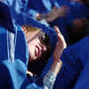 Matt Gleason tries to hide from the sun during Saturday's Broomfield High School graduation ceremony at Elizabeth Kennedy Stadium.<br /> May 21, 2011<br /> staff photo/David R. Jennings