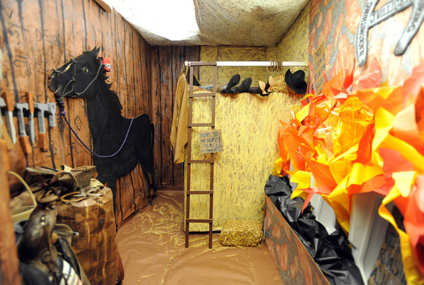 The boys restroom decorated in the wild west theme for Broomfield High's JAM,  Just After Midnight , at the school on Saturday. <br /> <br /> April 28, 2012 <br /> staff photo/ David R. Jennings