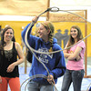 Alyssa Kimber, 15, tries using a lasso for  calf roping during the public tour of Broomfield High's JAM,  Just After Midnight , at the school on Saturday. <br /> <br /> <br /> April 28, 2012 <br /> staff photo/ David R. Jennings