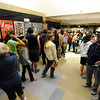 The senior poster hallway was filled with some of the more than 2300 people who attended the public tour of Broomfield High's JAM,  Just After Midnight , at the school on Saturday. <br /> <br /> April 28, 2012 <br /> staff photo/ David R. Jennings