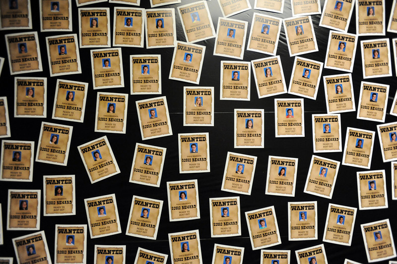 A wall of small wanted posters of the seniors at  Broomfield High's JAM,  Just After Midnight , at the school on Saturday. <br /> <br /> April 28, 2012 <br /> staff photo/ David R. Jennings