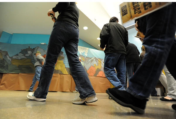 """Visitors walk to the """"canyon"""" to start  the public tour of Broomfield High's JAM,  Just After Midnight , at the school on Saturday. <br /> <br /> April 28, 2012 <br /> staff photo/ David R. Jennings"""