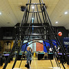 Regan Van Depol, 12, walks under the Eiffel Tower replica made from PVC pipe during the Just After Midnight open house  at Broomfield High School on Saturday. <br /> <br /> April 24, 2010<br /> Staff photo/ David R. Jennings