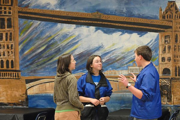 Natalie Templeman, 15, left, Kaylee Folmar, 15, and Nate Fulton, 15 chat in the London section during the Just After Midnight open house  at Broomfield High School on Saturday. <br /> <br /> April 24, 2010<br /> Staff photo/ David R. Jennings