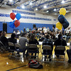 Broomfield High athletes sit infront of an audience with their parents on national signing day in the Eagle Gym on Wednesday.<br /> February 3, 2010<br /> Staff photo/David R. Jennings