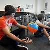 Colton Steele answers a question listed on the beach ball during Freshman Orientation Day at Broomfield High School on Tuesday.<br /> <br /> August 18, 2009<br /> staff photo/David R. Jennings